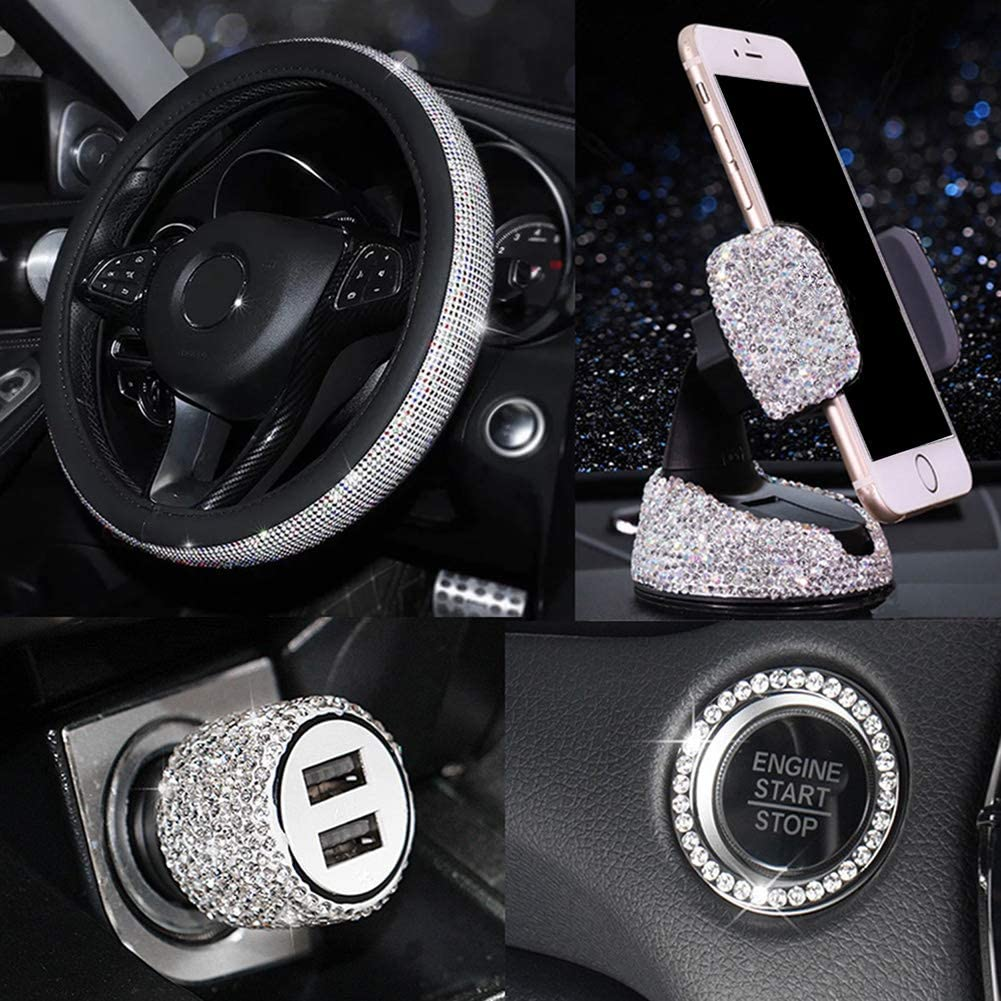 Bling Car Accessories Set for Women, Bling Car Steering Wheel Cover Universal Fit 15 Inch, Bling Car USB Charger Bling Car Mobile Holder Bling Car Decor Set 5 Pack