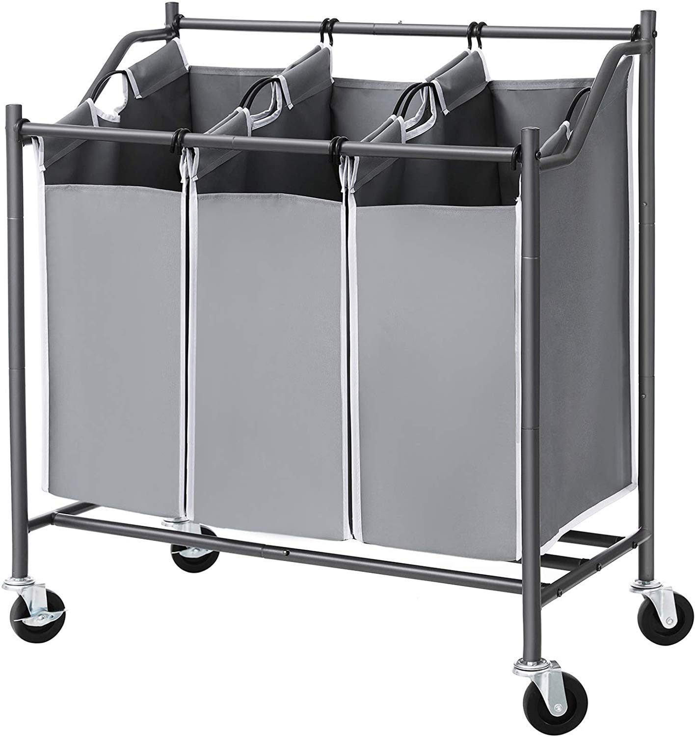 SONGMICS Cart Sorter, Rolling Laundry Basket Hamper, with 3 Removable Bags, Casters and Brakes, Gray URLS70GS by SONGMICS