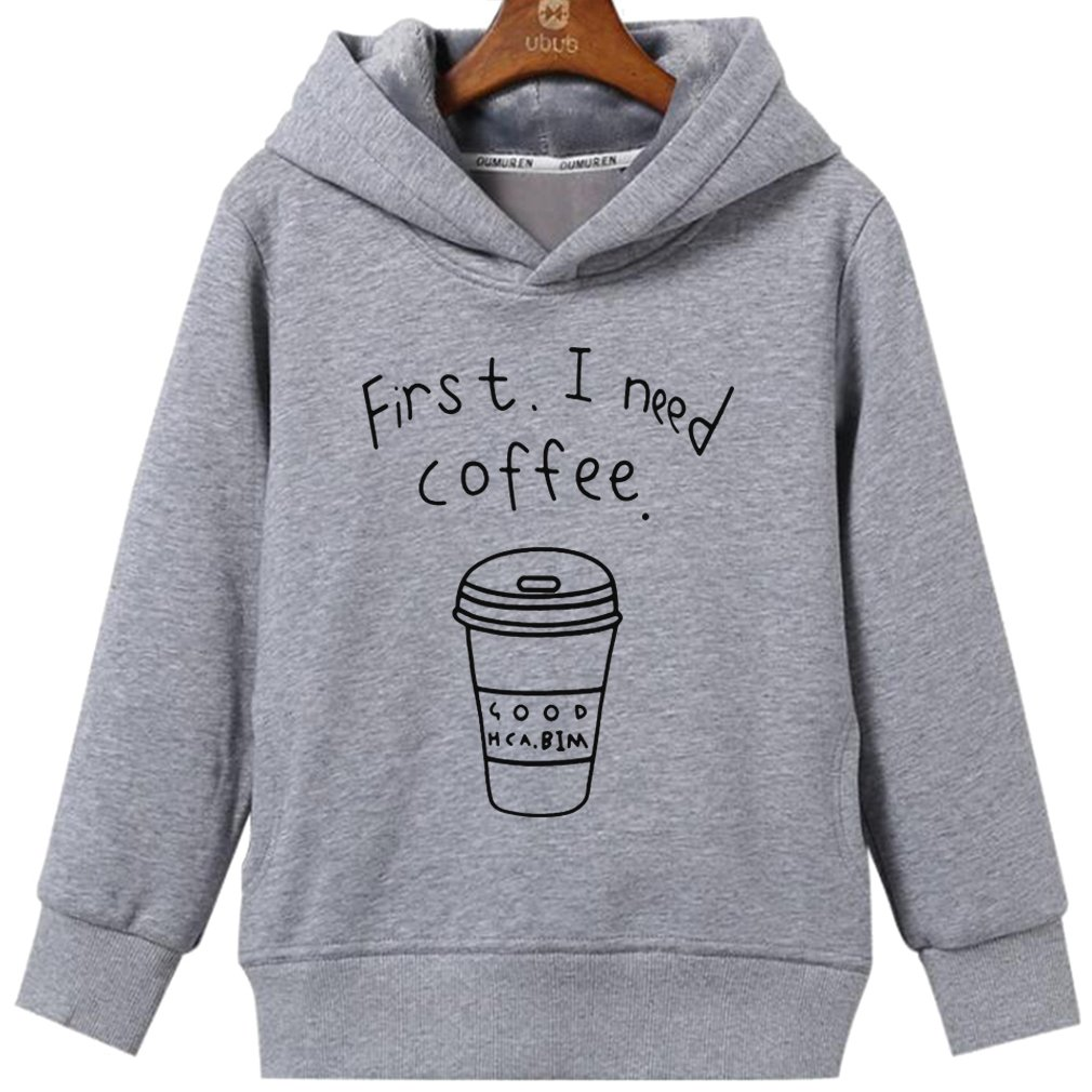 CIN-FAN Womens First I Need Coffee Fashion Letter Print Hoodie with Pockets