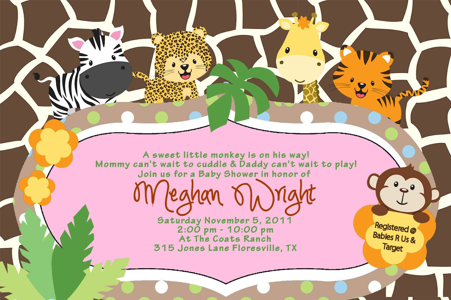 Amazoncom Baby Shower Jungle Invitations Tiger Zebra Giraffe