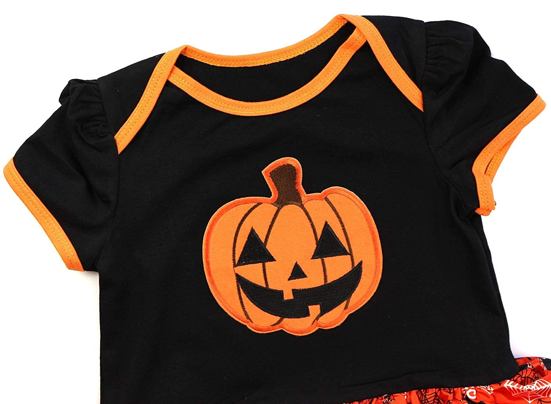FANCYINN Halloween Abito Tutu Set di 4 Pezzi Patch di Zucca Costume Attrezzatura per Le Bambine Partito Infantile