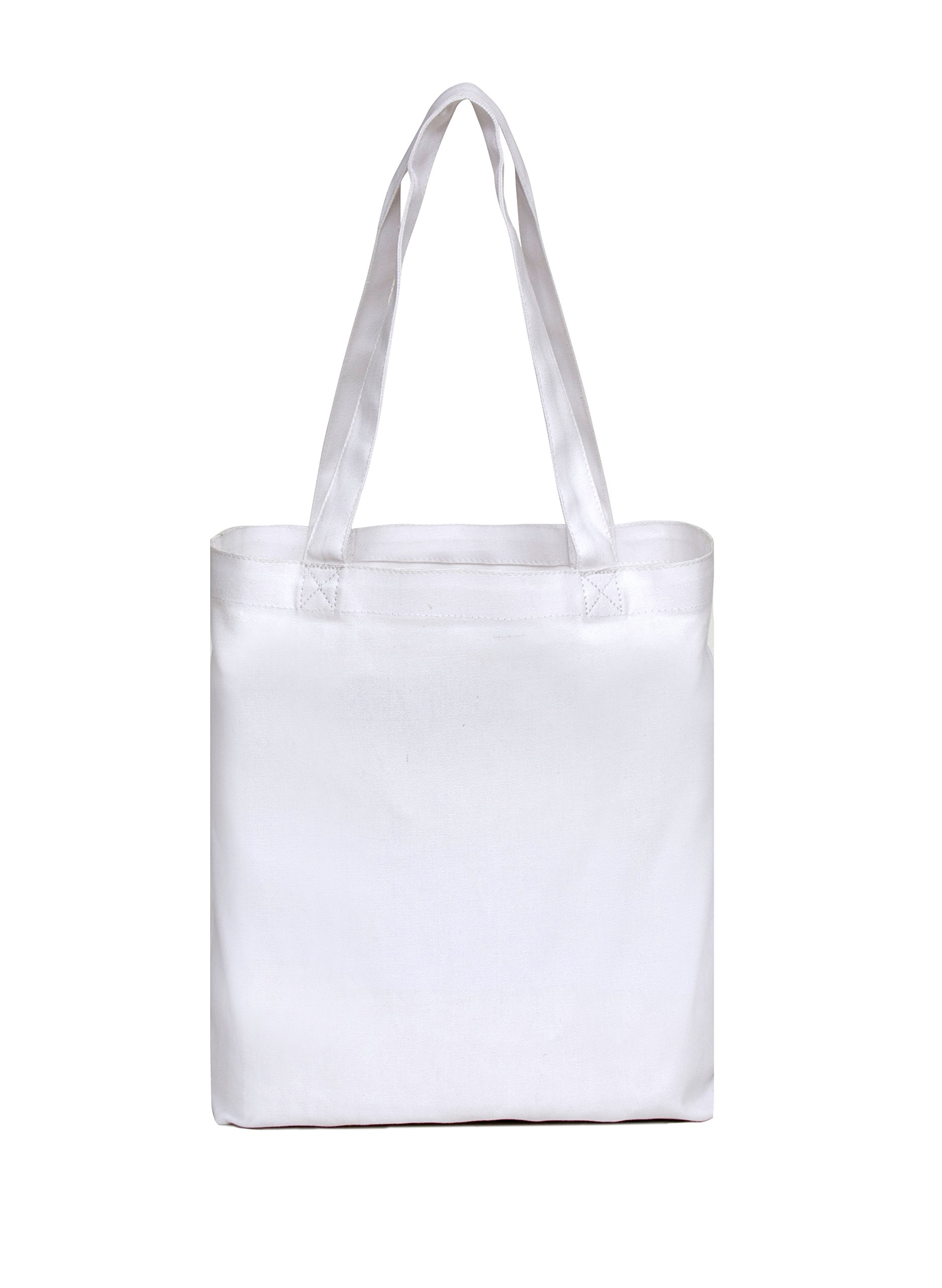 Medium White Tote Bag 14x13x3'', 100% Cotton Canvas - Pack of 12