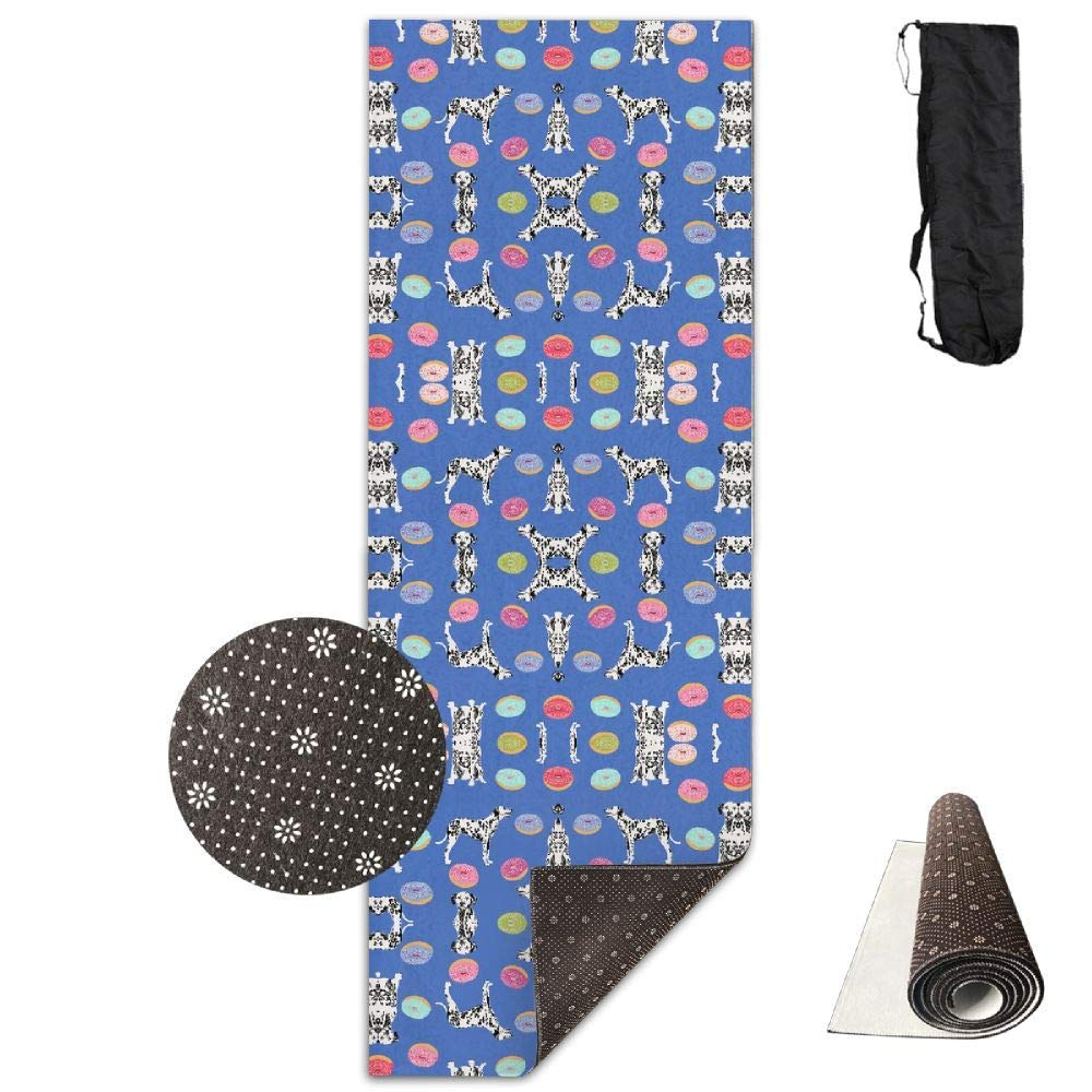 70Inch Long 28Inch Wide Comfort Velvet Yoga Mat, Dalmatian Fabric (4615) Mat Carrying Strap & Bag