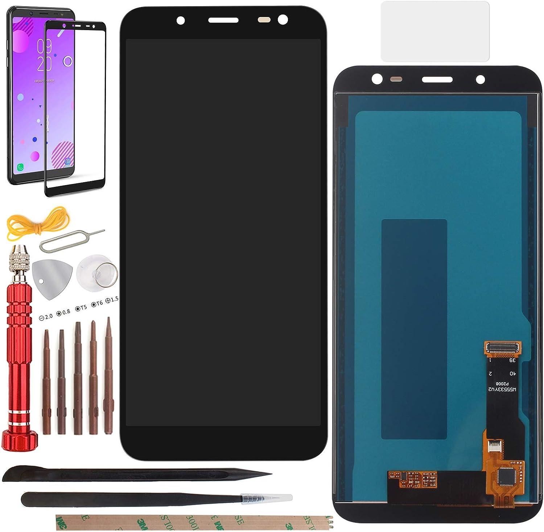 YHX-OU Pantalla táctil LCD de repuesto para Samsung Galaxy J6 2018 J600F J600 de 5,6 pulgadas, con herramientas completas (negro)