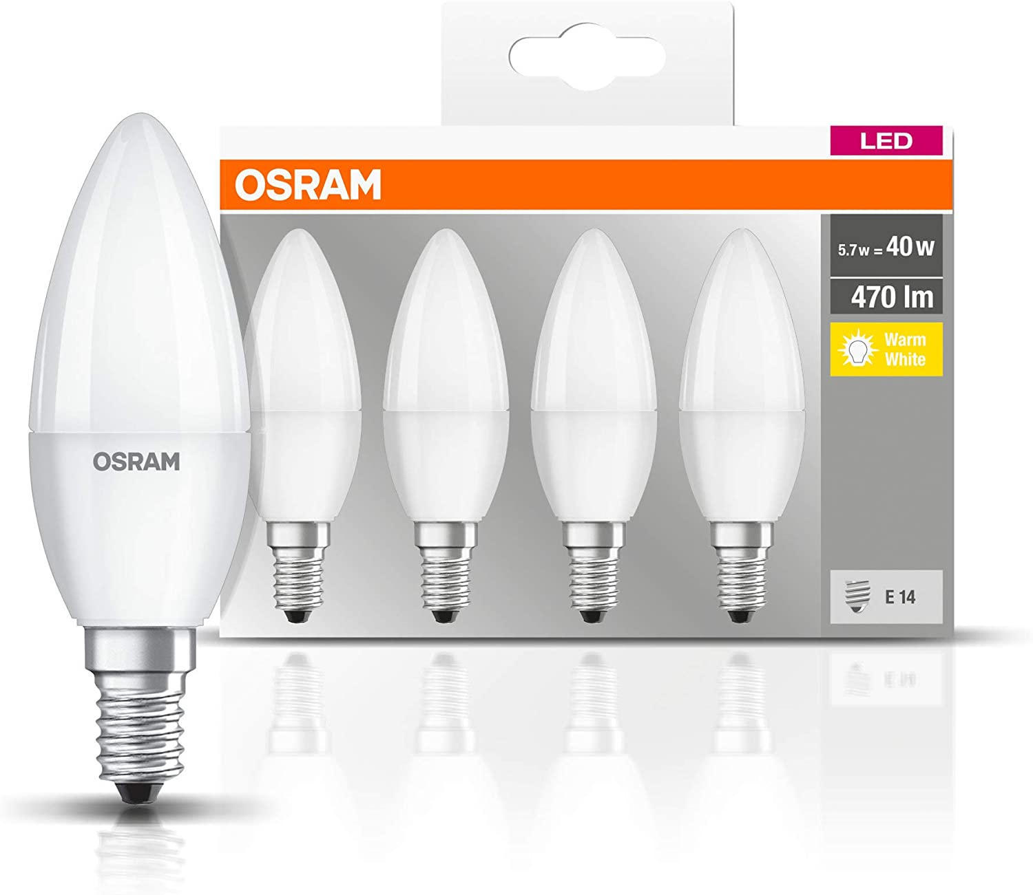 Osram Led Base Classic B Led Lamp In Candle Shape With E14 Base