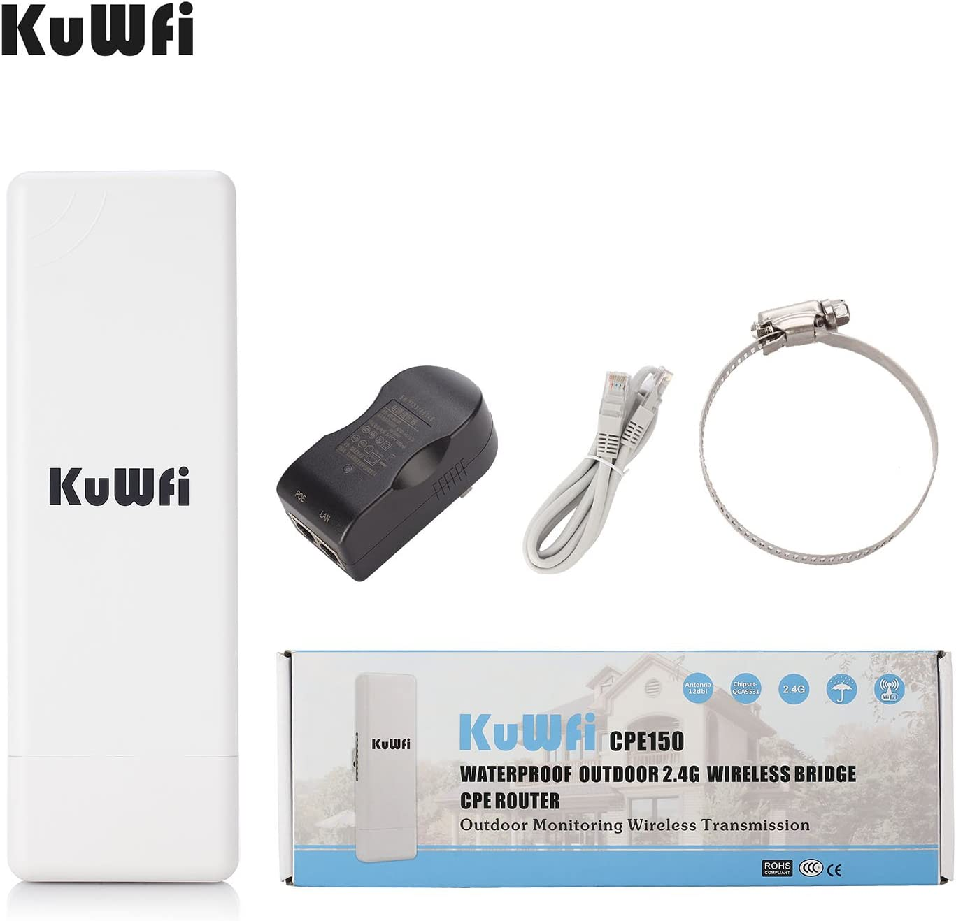 KuWFi Waterproof Outdoor Wireless Bridge Outdoor CPE Point to Point 2KM Distance Outdoor Wireless Access Point CPE Router with WiFi Long Range Router More WiFi Range 1000mW 150Mbps WiFi Access Point