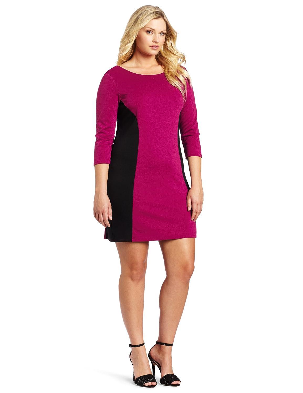 Star Vixen Women's Plus-Size Longsleeve Ponte Colorblock Dress Fuchsia/Black 3X Star Vixen Child Code 3144-PT-X