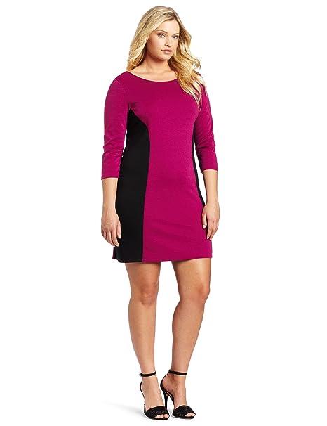 Star Vixen Women\'s Plus-Size Longsleeve Ponte Colorblock Dress