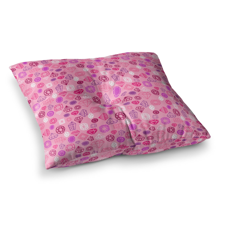 23 x 23 Square Floor Pillow Kess InHouse Jane Smith Gems Pink Purple Illustration