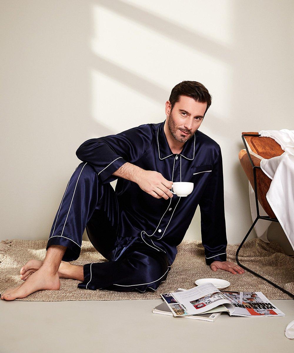 LilySilk Silk Pajamas Set For Men Summer 22 Momme Most Comfortable Sleepwear Navy Blue L by LilySilk (Image #4)