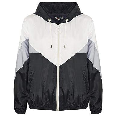 9de3b7ff8 Kids Girls Boys Windbreaker Jackets Black Panelled Hooded Raincoat Age 5-13  Year