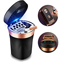 SOLARXIA Car Ashtray, Auto Ashtray Cigar Electronic Cigarette Lighter Detachable Solar Powered/USB Rechargeable with Lid…