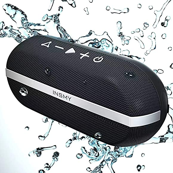 INSMY Portable Bluetooth Speakers, 20W Wireless Speaker Loud Stereo Sound Rich Bass, IPX7 Waterproof, TWS Mode, 24 Hours Playtime, Bluetooth 5.0 100ft Range, Built-in Mic for Outdoors Camping Black