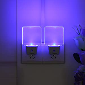 CNAMOY 2 Pack 0.5W Plug-in LED Night Light Lamp with Dusk to Dawn Sensor, Starlight Blue Automatic Light, Night Lights for Kids, Baby Nightlight