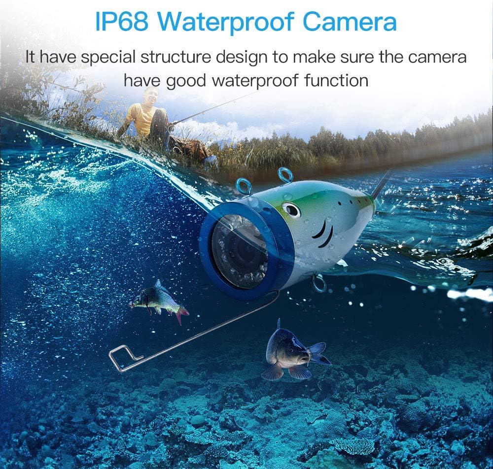 Wei/ße LED-Lichter Unterwasserkamera Wasserdichte IP68 f/ür See Eisfischen Angeln Eyoyo Fischfinder Kamera 15M Unterwasserfischen Fishing Finder mit 7 Zoll IPS Monitor TFT LCD Bildschirm 1000TVL,12 IR
