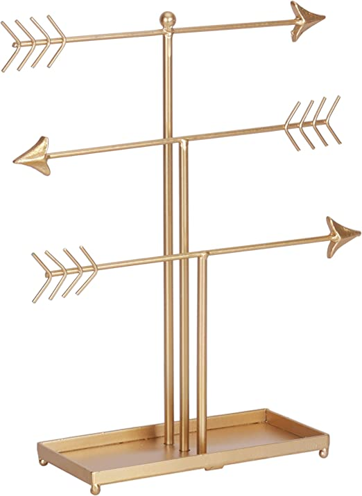 Amazon Com Kleanner 3 Tier Arrow Jewelry Organizer Stand Metal Jewelry Display Tree Rack With Ring Tray Decorative T Bar Jewelry Holder For Necklace Bracelet And Watch Gold Home Kitchen