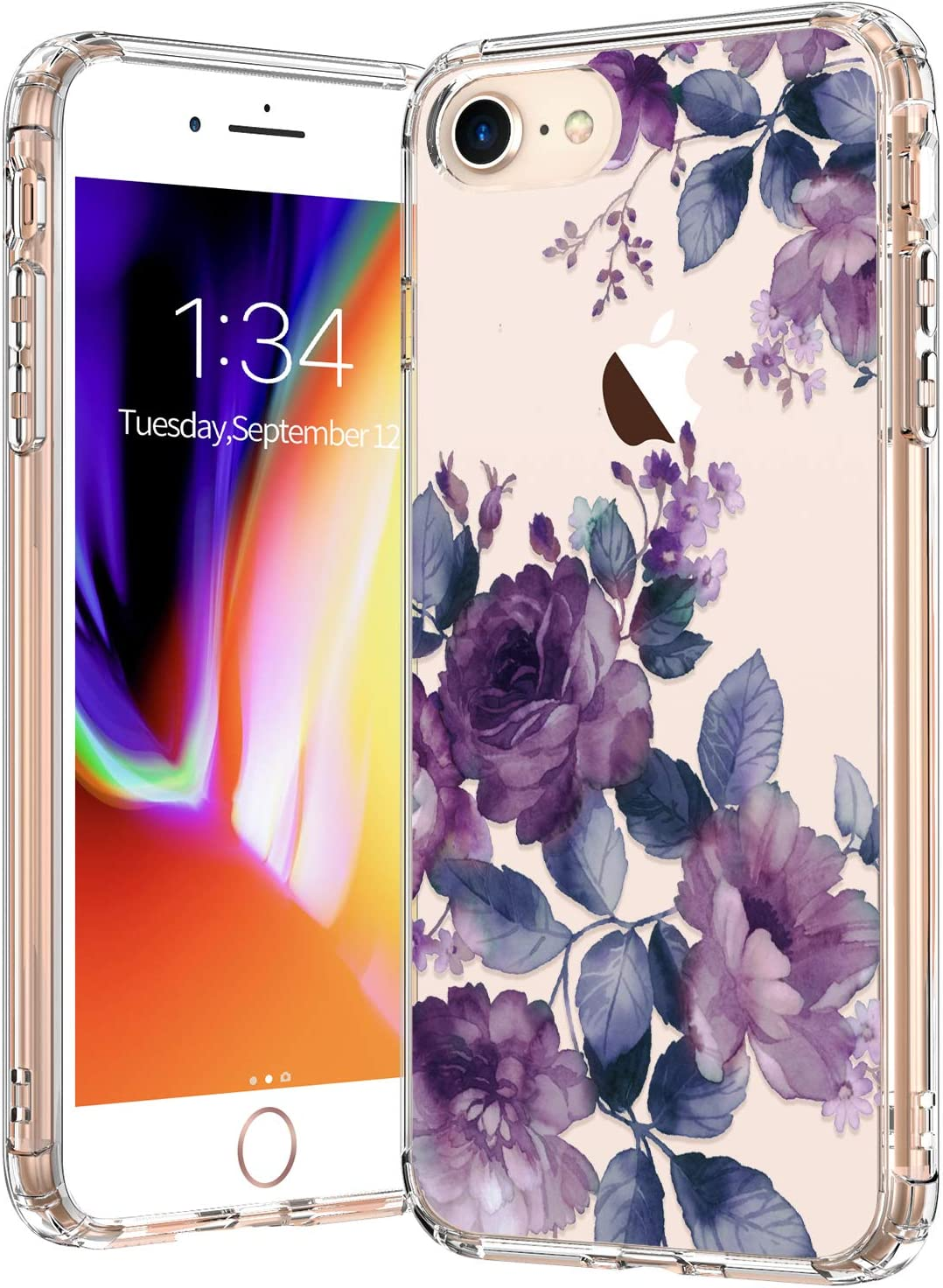 BICOL iPhone SE2 Case 2020,iPhone 7 Case,iPhone 8 Case,Elegant Purple Floral Flower Pattern Clear with Design Protective Phone Case Cover for Apple iPhone 7/iPhone 8/iPhone SE2
