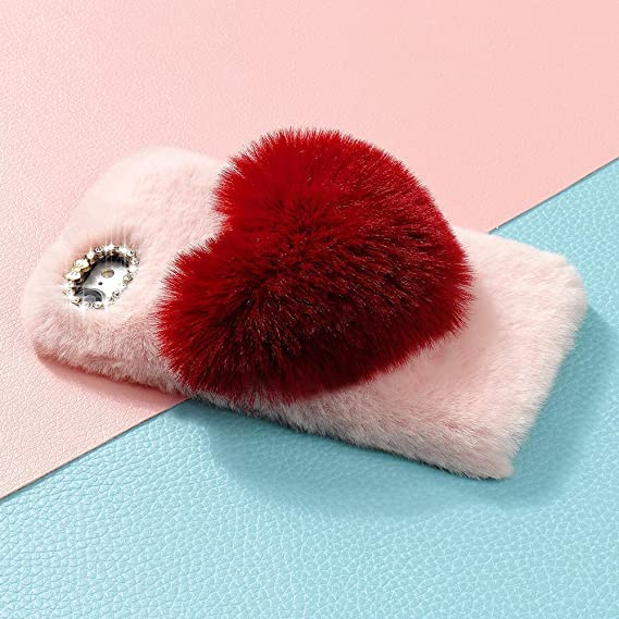 low priced 21373 7cace for iPhone 6 Case iPhone 6S Case LAPOPNUT Girls Luxury Faux Fur Case Cute  Soft Cover Fluffy Furry Love Heart Back Case with Bowknot Bling Diamond ...