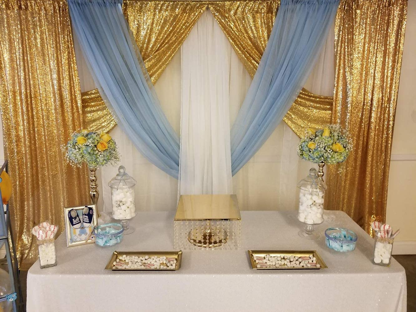 Wedding Sequin Backdrop Curtains 4 Pack 2ftx8ft Baby Blue Sparkly Photography Backdrop Birthday Party Background Decoration