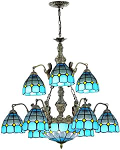 Tiffany Style Retro Chandelier Multi-Light Blue Mediterranean Pendant Lamp Handmade Stained Glass Hanging Lighting Fixture for Living Room Bedroom Dining Room Decoration, 110-240V
