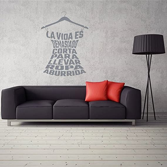 Amazon.com: dsgghty Wall Stickers Quote Spanish Clothing Quote Decals LadayS Young GirlS Fitting Room Cloakroom Fashion Store Wardrobe Decoration For ...