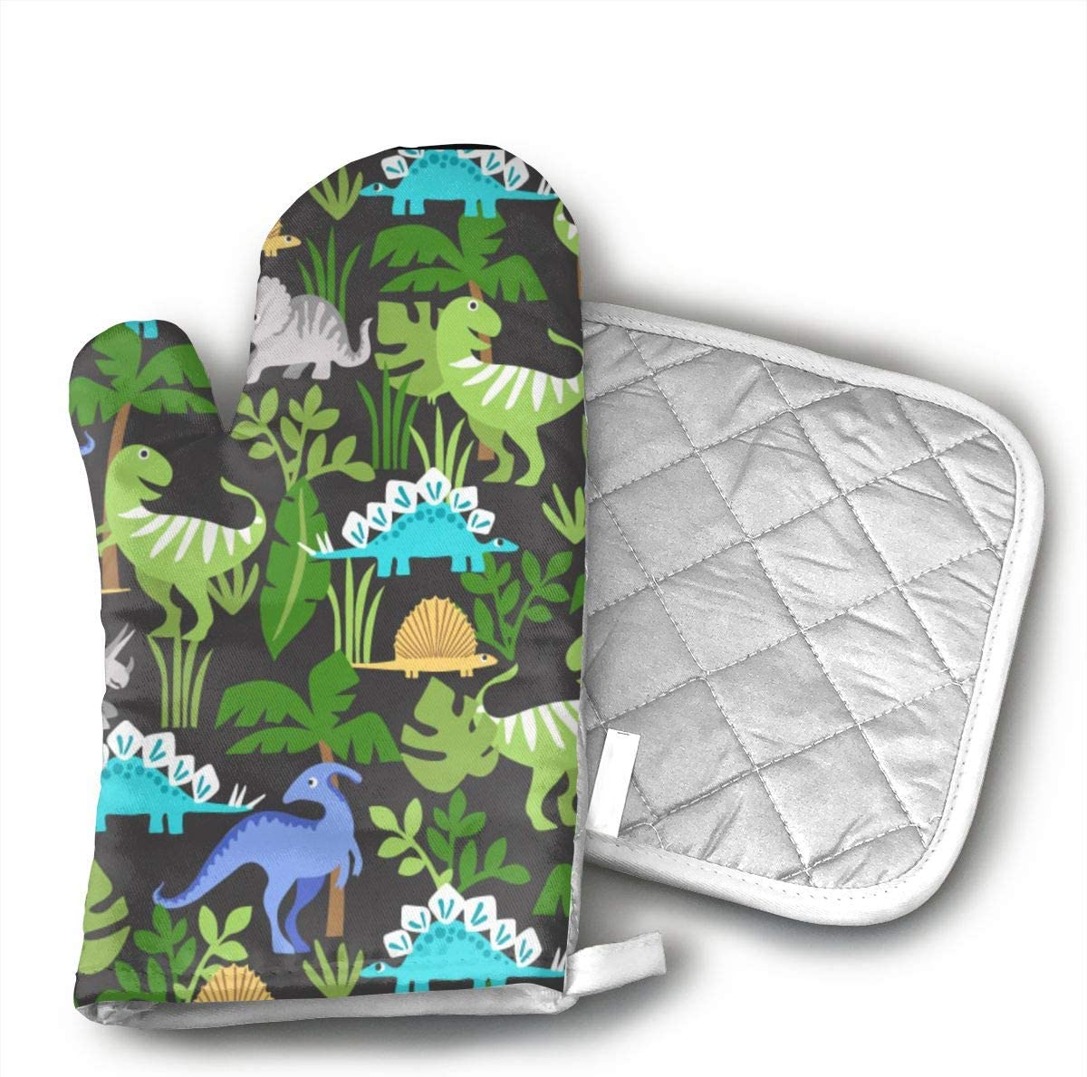 HGUIDHG Dino Oven Mitts+Insulated Square Mat,Heat Resistant Kitchen Gloves Soft Insulated Deep Pockets, Non-Slip Handles