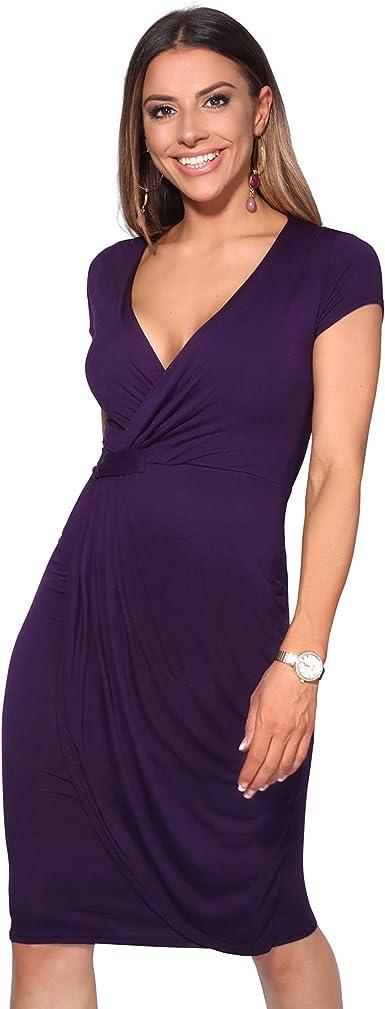 TALLA 36. KRISP Vestido Moda Mujer Fruncido Morado (6678) 36