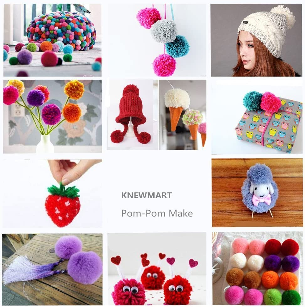"Clover 2 Size Pom Pom Maker Round Bobbles For Scarves Hats Blankets 2.5/"" /& 3.8/"""