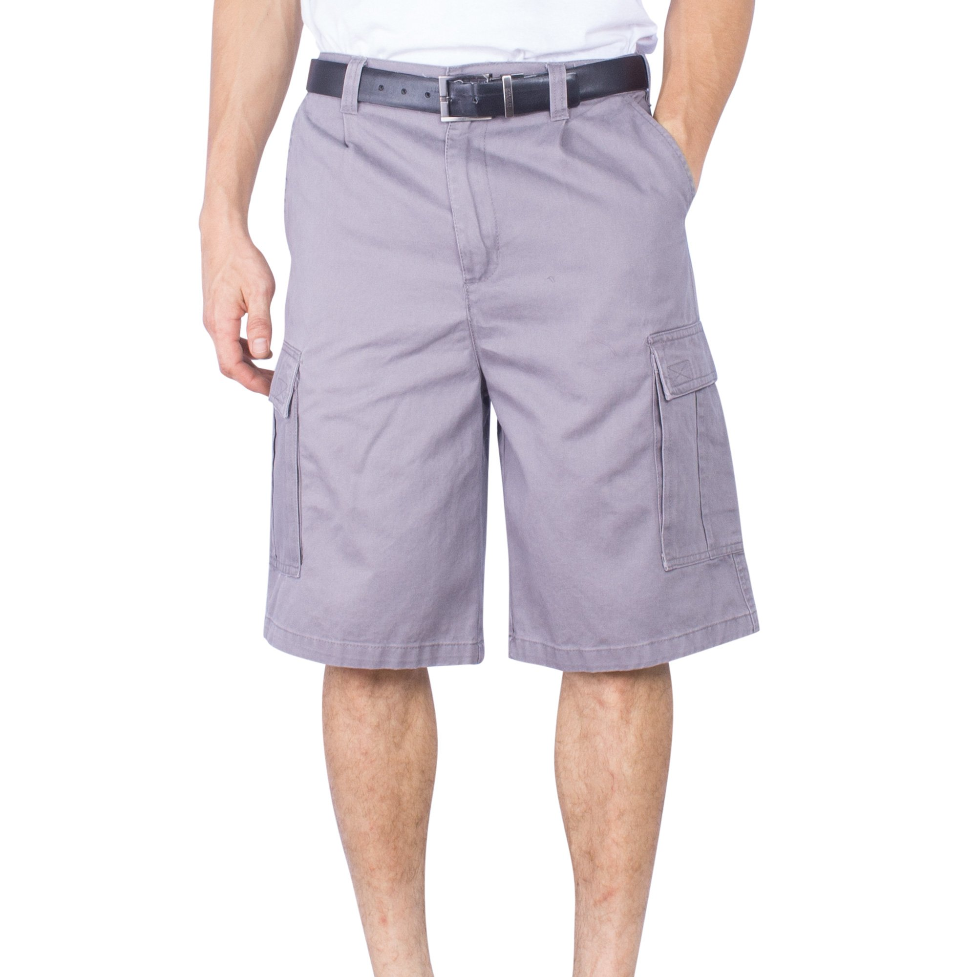 Mens Cargo Short Big & Tall Solid Long Loose Fit Solid Cotton Chino Shorts (Light Grey,36)