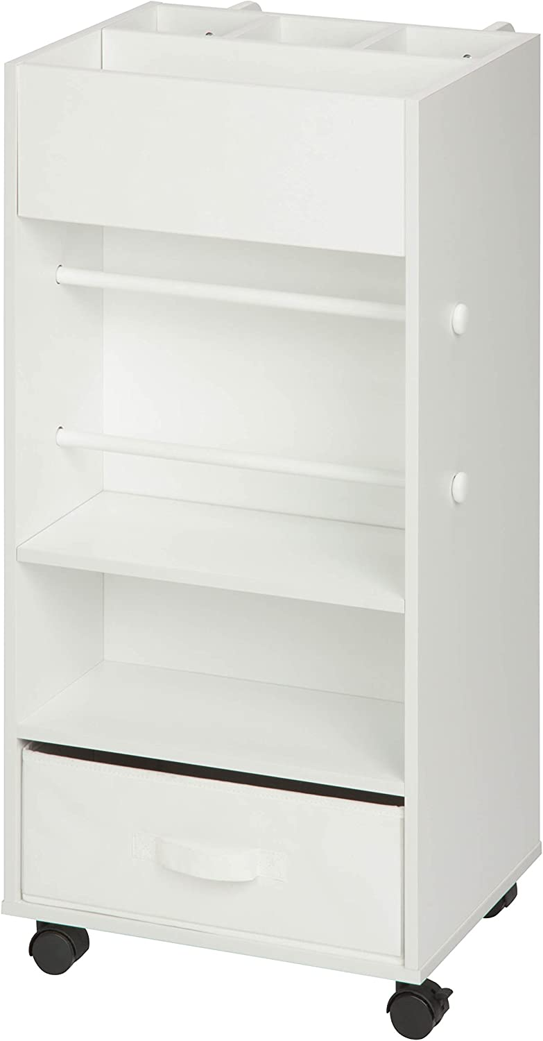 Honey-Can-Do CRT-06342 Rolling Craft Storage Cart with Fabric Drawer, White