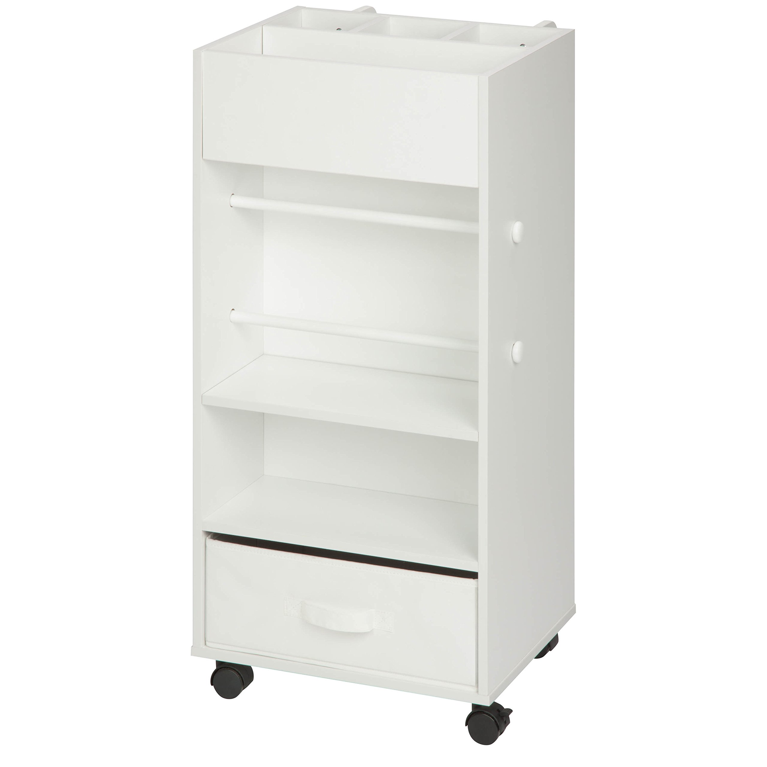 Honey-Can-Do CRT-06342 Rolling Craft Storage Cart with Fabric Drawer, White by Honey-Can-Do