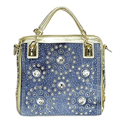 7ca0a195bf Kaxidy Womens Ladies Girls Denim Bag Top-handle Bags Handbags Satchel  School Office Bag (Denim Blue + PU Gold)  Handbags  Amazon.com
