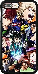 My Hero Academia Anime Manga Comic Theme Case for iPhone 7 Plus/8 Plus (5.5 Inch) Comic TPU Silicone Gel Edge + PC Bumper Case Skin Protective Printed Phone Full Protection Cover