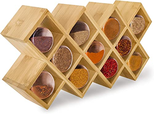 Kitchen Spice Organizer Mounted Spice Rack Organizers for Spices Condiments Rack Herbs Storage Container Countertop Organizer for Seasoning Bamboo Spice Shelf