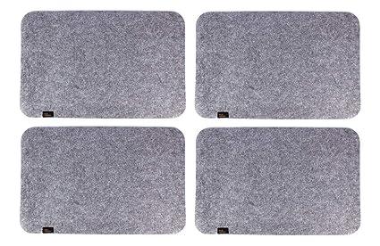 Edle Filz Platzmatten für 4 Personen in graumeliert (+ weitere Farben). XXL Tischset ca. 30x45cm groß und waschbar. Moderne D