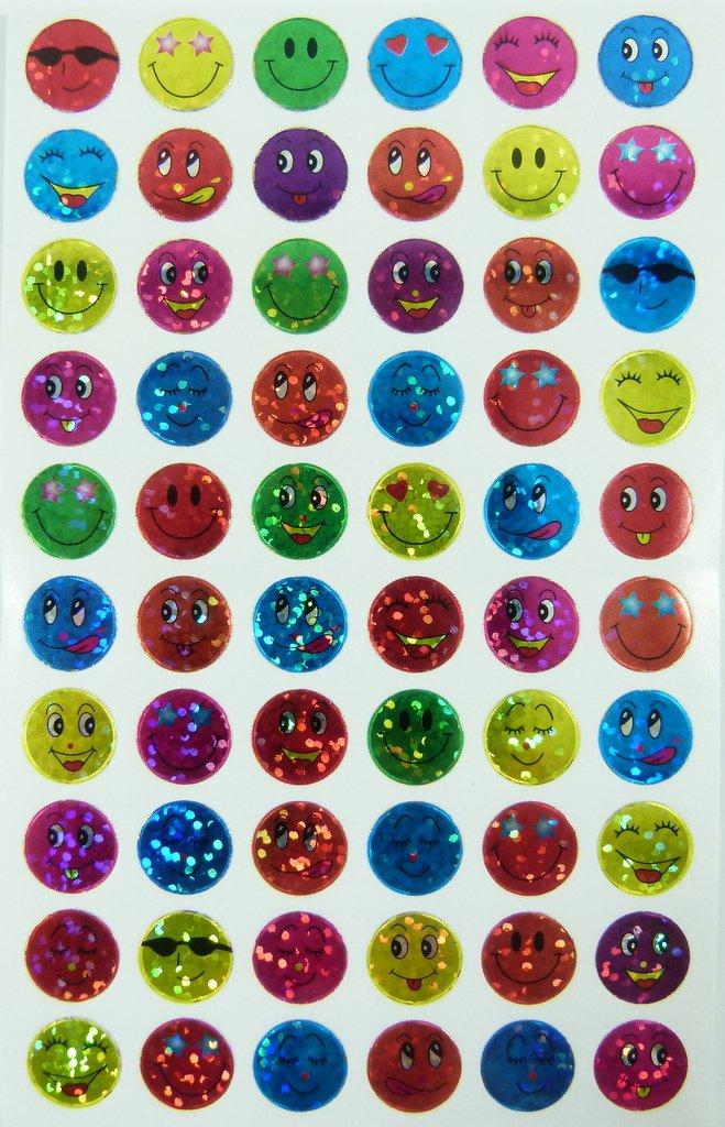 10 hojas de pequeño titilantes Smiley Pegatinas (600 pegatinas) PartyErasers
