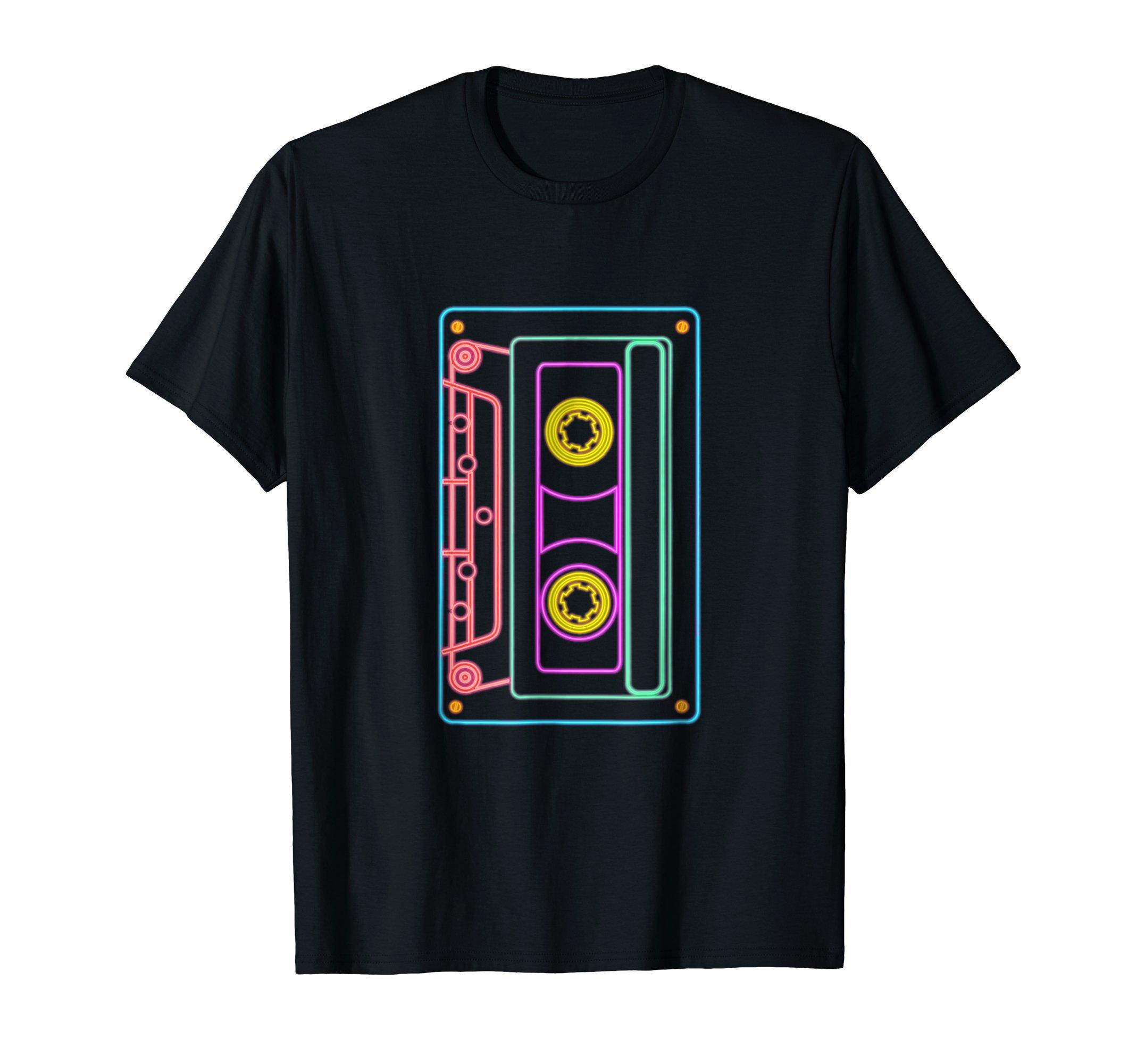 80s Retro Neon Sign Vintage Cassette T-Shirt
