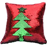 Fengheshun Reversible Sequins Mermaid Pillow Covers 40×40 cm Magical Color Changing Pillowcase Christmas Decoration (Red+Green)