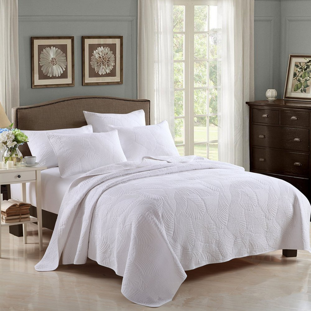 HHNSI 3 Pieces White Quilt Bedspread Coverlet Sets Queen Size, Cotton Comfy Comforter Bedding Sets,Quilt and Sham Sets (White Leaves)