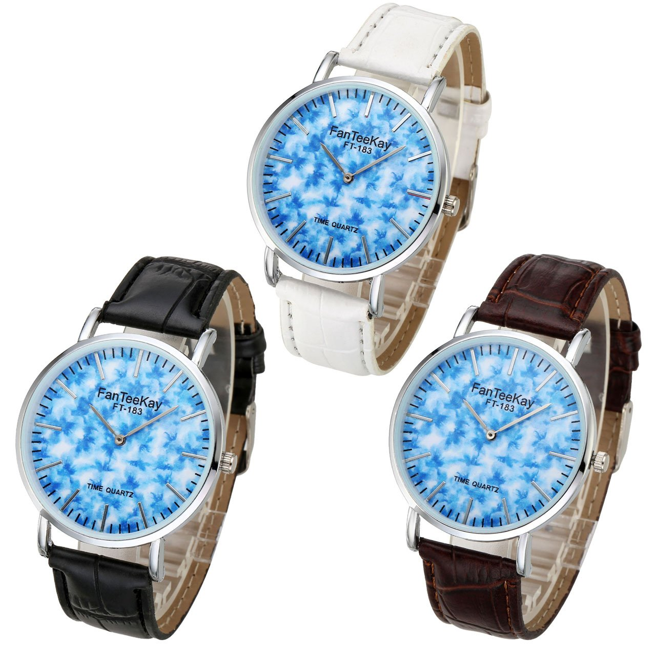 Top Plaza Unisex Casual Simple Silver Tone Analog Quartz Watch Blue Dial PU Leather Strap Wrist Watch(Set of 3)
