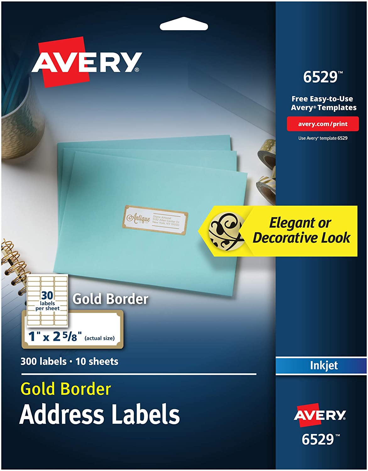 """Avery Address Labels with Gold Border for Inkjet Printers, 1"""" x 2-5/8"""", 300 Christmas Card Labels (6529) : Office Products"""