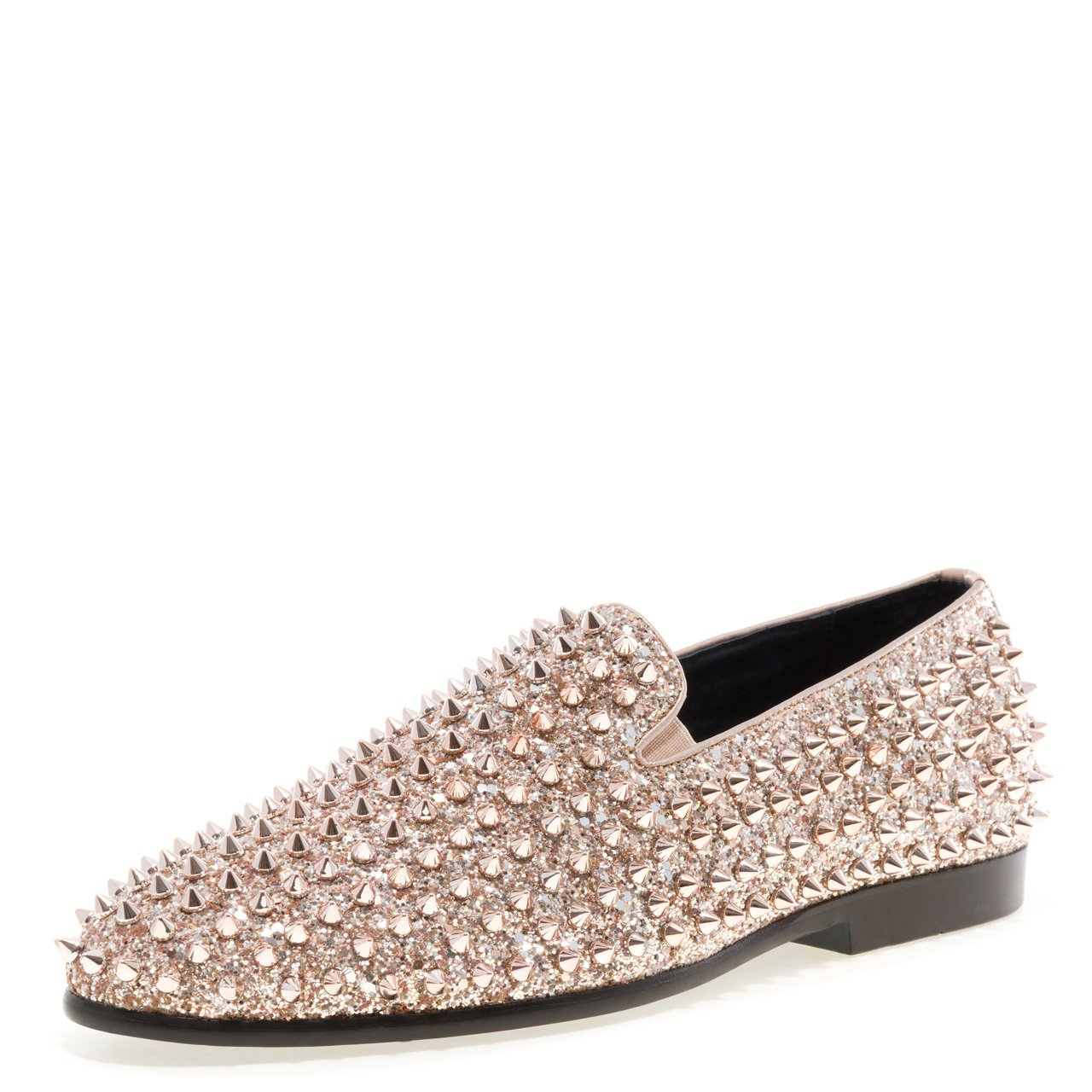JUMP NEWYORK Men's Luxor Round Toe Textile and Leather Metallic Spike Slip-On Smoking Slipper Dress Loafer Rosegold 10 D US Men