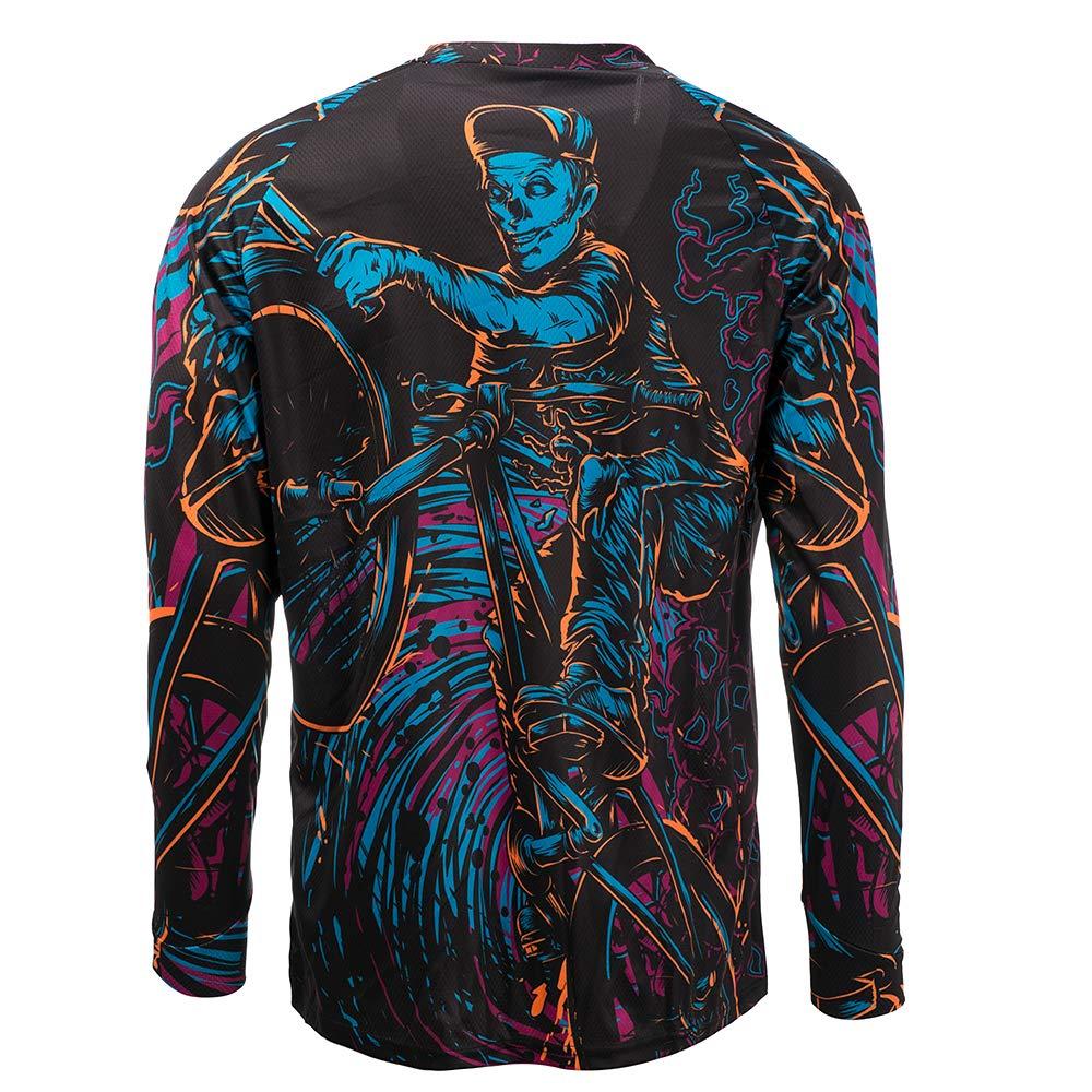 JPOJPO Mens Cycling Jersey MTB T Shirt Long Sleeve Mountain Bike Motorcycle Bicycle Clothes Anti-UV