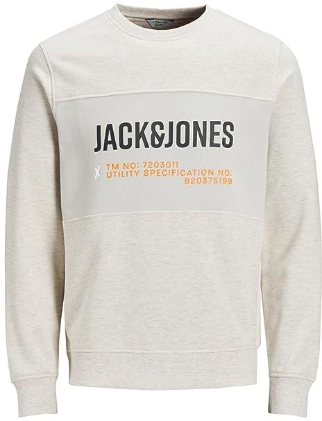 JACK & JONES - Sudadera - para Hombre Marfil White Melange X-Large