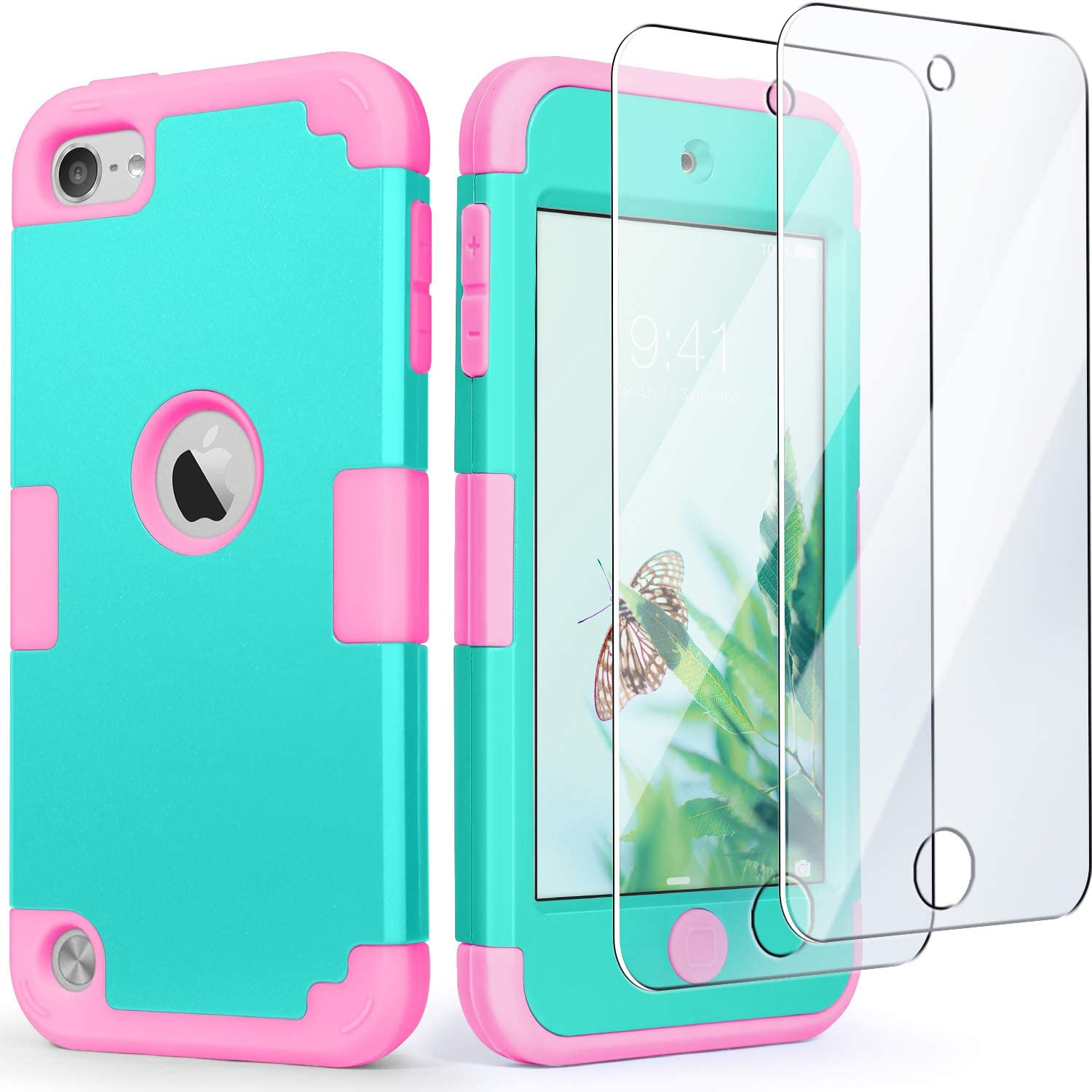 iPod Touch 7 Case with 2 Screen Protectors, iPod 6 & 5 Case, IDweel 3 in 1 Hard PC Case + Silicone Shockproof for Kids Heavy Duty Hard Case Cover for 2019 iPod Touch 7th/6th/5th Gen, Mint+Pink