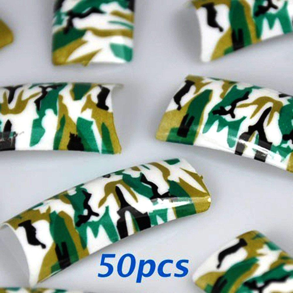 Amazon 50 Army Green Pre Design False Acrylic Nail Tips By