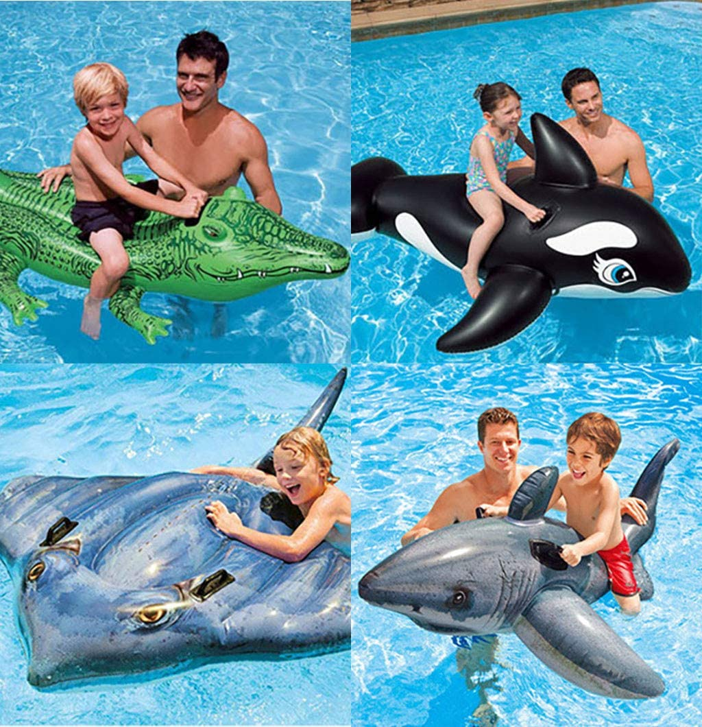 Kiddie Pool Float Floatie With Grip,Wesracia Children Beach//Pool Toy Turtle Ride-On Crocodile Inflatable Swimming Pool Floats For Toddler Sturdy /& Safety