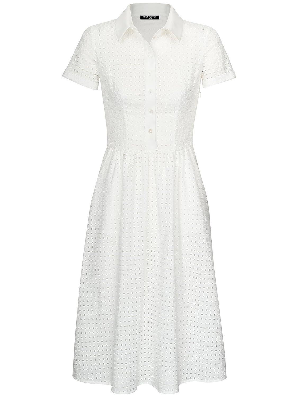 FOURFLAVOR Kleid Talisha V-ausschnitt Midi Viertelarm Freizeit Tailliert 100% Baumwolle