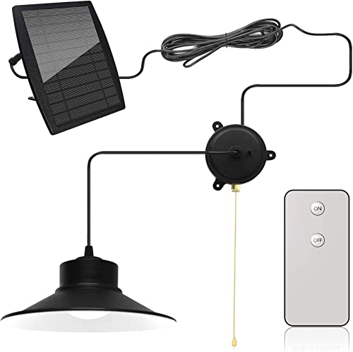 Otdair Solar Pendant Lights, 28LED Solar Powered Shed Light IP44 Waterproof 60LM Solar Barn White Lights with Remote Control and Pull Cord for Indoor Outdoor