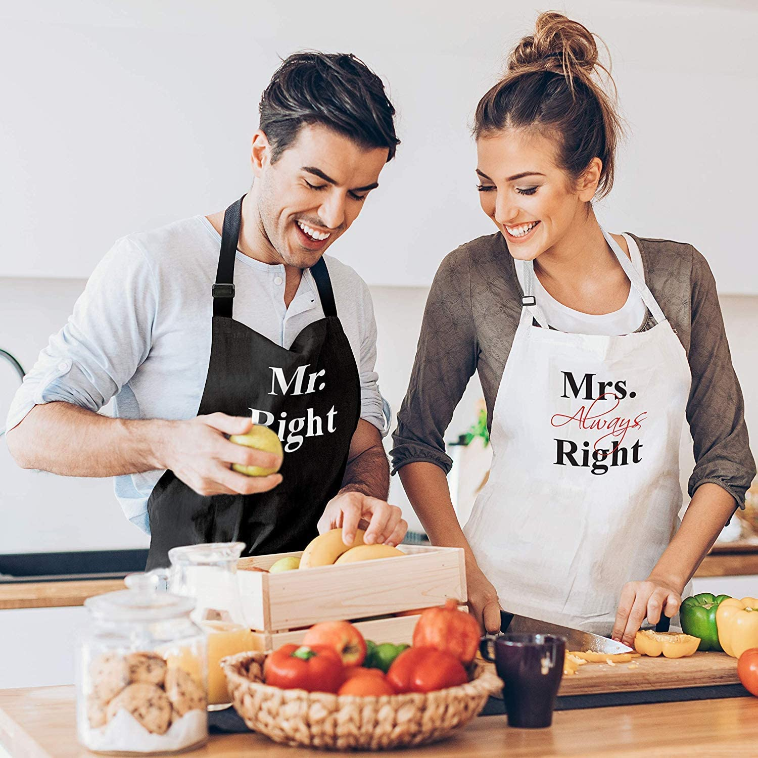 Couples do a lot of activities together, such as cooking together, eating together, and going to the toilet together. Oops, we should focus on cooking only. These aprons suit couples who like cooking and want to prove to everyone that they are the couple. We all know that women are always right. That's why 'Mrs always right' quote is printed on it.